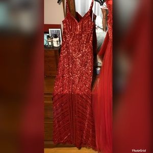 Red Sequin Prom or Pageant Gown